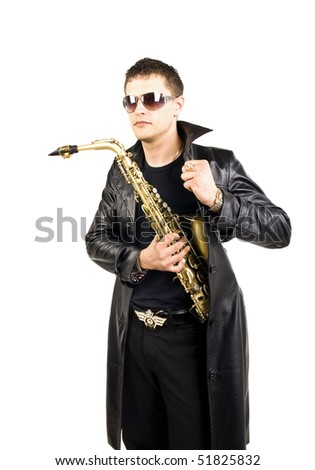 saxophone player with his instrument like an agent