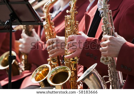 Saxophone players in action
