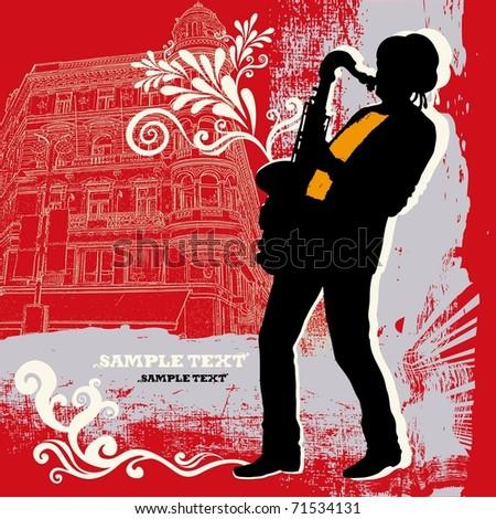 Saxophonist on a grunge background - stock photo
