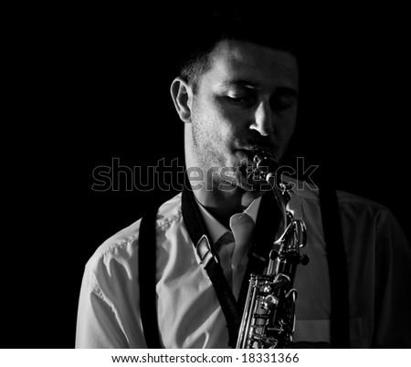 Saxophonist Series: Musician closeup - stock photo