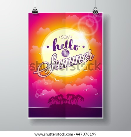 Say Hello to Summer inspiration quote on seascape background. Typography design element for greeting cards and posters. JPG version. - stock photo
