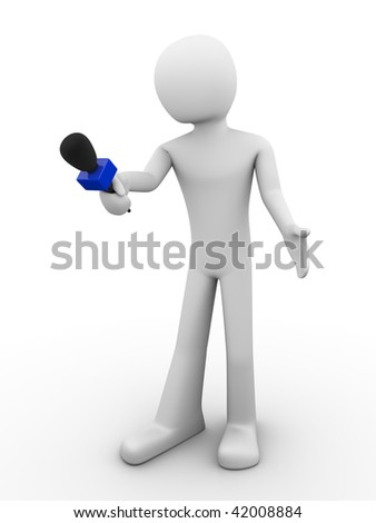 Say something about 2 (mass media series; men at work series) - stock photo