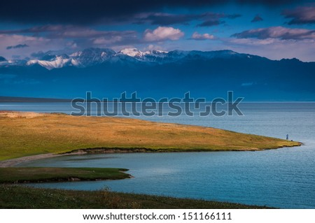 Sayram lake at the morning time - stock photo