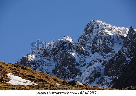 Scafell in winter, English Lake District - stock photo