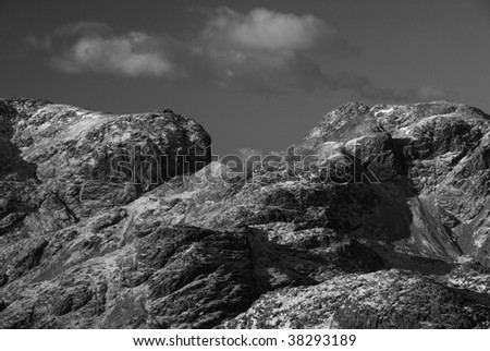 Scafell pikes in black and white