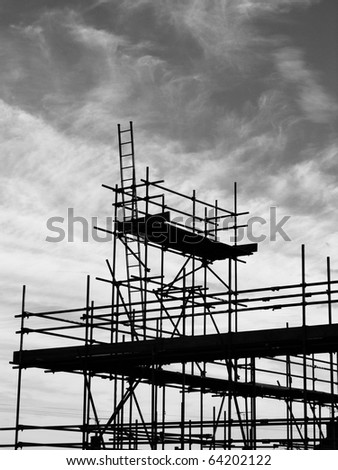scaffolding against a blue sky ready to build