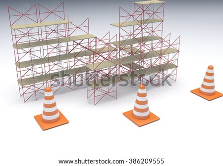 Scaffolding and Cone sign - stock photo