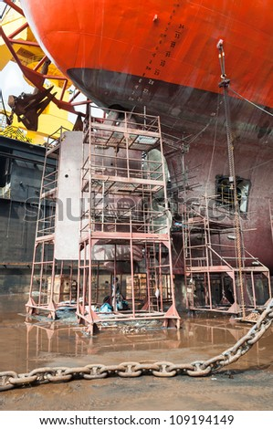 Scaffolding at the Drill Ship - stock photo