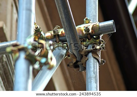 scaffolding clamps and safety - stock photo