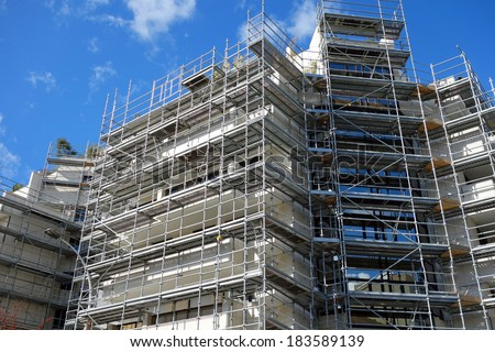 Scaffolding construction - stock photo