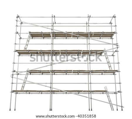 Scaffolding construction 3d build, horizontal, over white, isolated - stock photo
