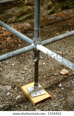 Scaffolding foot plate and Junction - stock photo