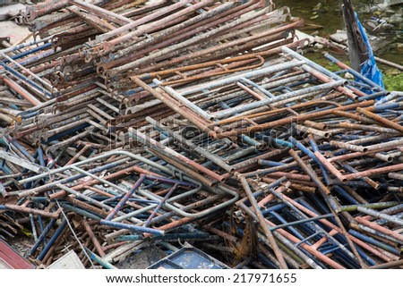 scaffolding in construction site - stock photo