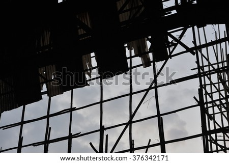 Scaffolding Stage in ruins, china bamboo opera building