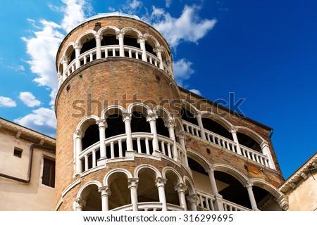 Scala Contarini del Bovolo - Venezia Italy / Detail of the Scala Contarini del Bovolo of Contarini Palace in the city of Venezia (UNESCO world heritage site), Veneto, Italy - stock photo