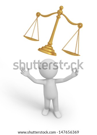 scale/A 3d person looking upon a scale - stock photo