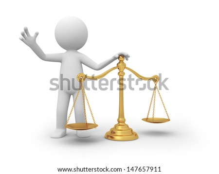 scale/A 3d person standing behind a scale - stock photo