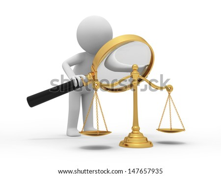 scale/A 3d person watching a scale with a magnifying glass - stock photo