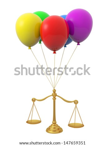 scale\A scale hanged by five balloons - stock photo