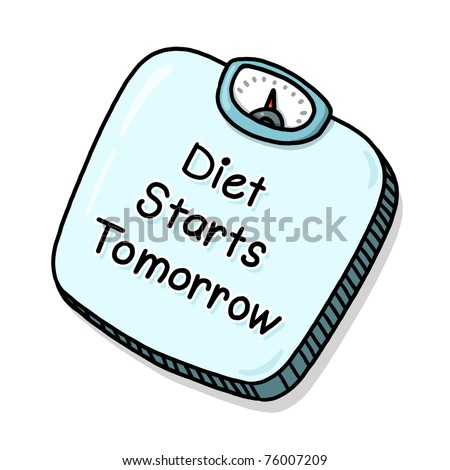 """Scale Illustration with the caption """"Diet starts tomorrow""""; Isolated Bathroom scale - stock photo"""