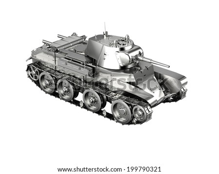 Scale model of a silver german tank toy from WWII isolated on white - stock photo