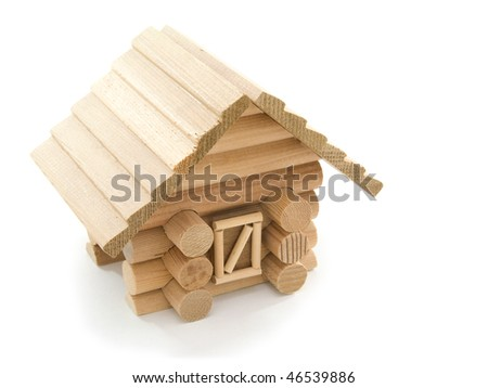 Scale model of chalet isolated on white background - stock photo