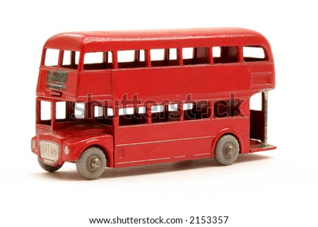Scale model of red London Bus - stock photo