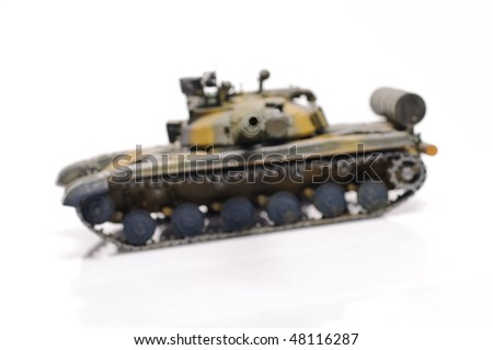 Scale model of russian tank. Focused on turret.