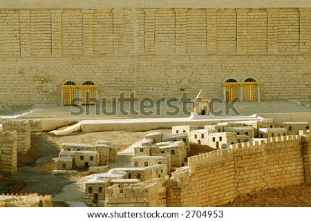Scale model of the front of Solomon's Great Temple in Jerusalem - stock photo
