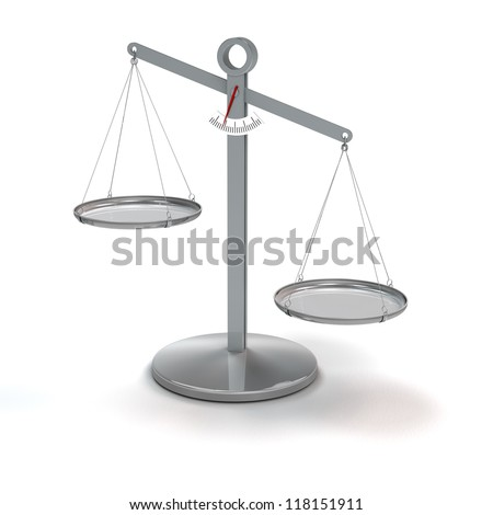 scale not in balance - rendering - stock photo