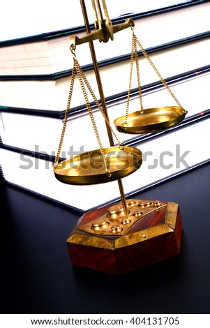 Scale of justice and books, justice concept - stock photo