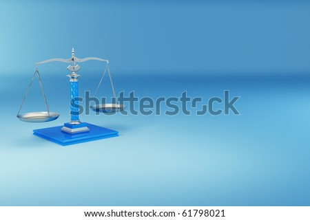 Scale on blue background. Symbol of justice. 3d - stock photo