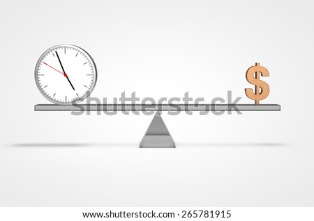 Scale weighing money and time 3D swiss design clock isolated  - stock photo
