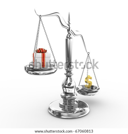 Scale with gift box and dollar sign - 3d render