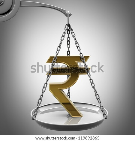Scale with golden Indian rupee symbol d High resolution 3d render - stock photo