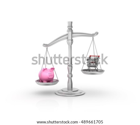Scale with Piggy Bank and Shopping Cart on White Background - High Quality 3D Rendering  / Illustration