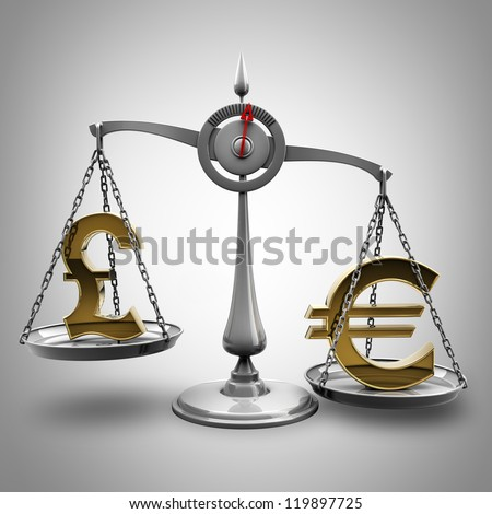 Scale with symbols of currencies Euro vs British pound  High resolution 3d render - stock photo