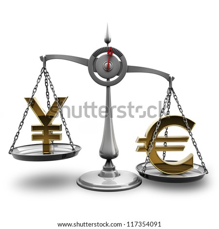 Scale with symbols of currencies Euro vs Japanese yen isolated on white background High resolution 3d render - stock photo