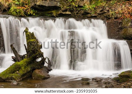 Scaleber Force close up / Scaleber Force or Foss waterfall near Settle in the Yorkshire Dales National Park - stock photo