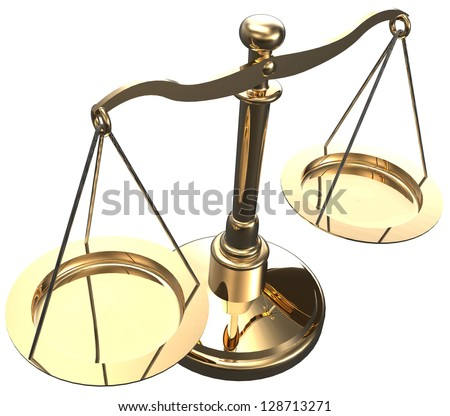 Scales as symbol of law justice court fairness choice 3D render with clipping path - stock photo