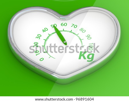 Scales  in the form of heart. 3D model on green background - stock photo