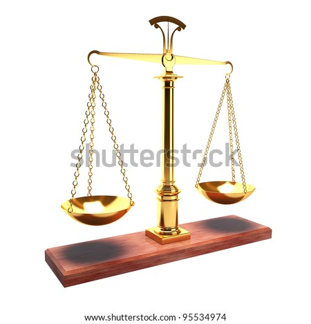 Scales isolated on white background as a symbol of justice - stock photo