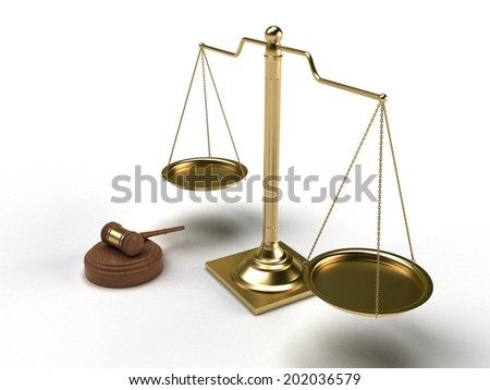 Scales justice and hammer - stock photo
