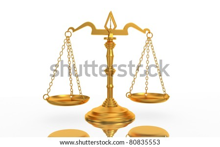 Scales justice isolated on white background - stock photo