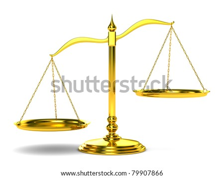 Scales justice on white background. Isolated 3D image - stock photo