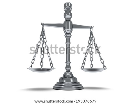 Scales justice on white. Judge Law Auction Medicine concept. 3d Render. Isolated white background.