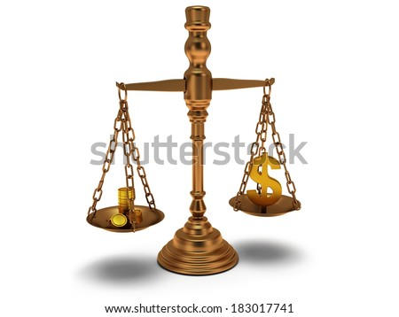 Scales justice with coins and dollar sign on white. Judge, law, auction, business concept. 3d Render. Isolated white background. - stock photo