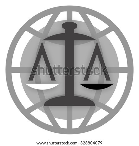 Scales of justice and globe - stock photo