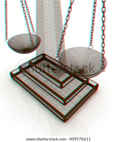 scales of justice. 3D illustration. Anaglyph. View with red/cyan glasses to see in 3D. - stock photo