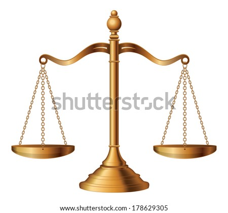 Scales of Justice is an illustration of the scales of justice symbolizing the measure of a case's support and opposition in a court of law. - stock photo